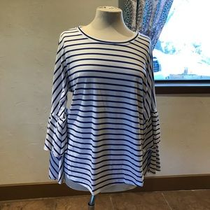 Long flared sleeved striped shirt! Brand new!